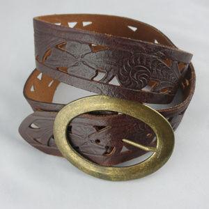 Aldo Tooled Leather Belt w/ Brass Buckle